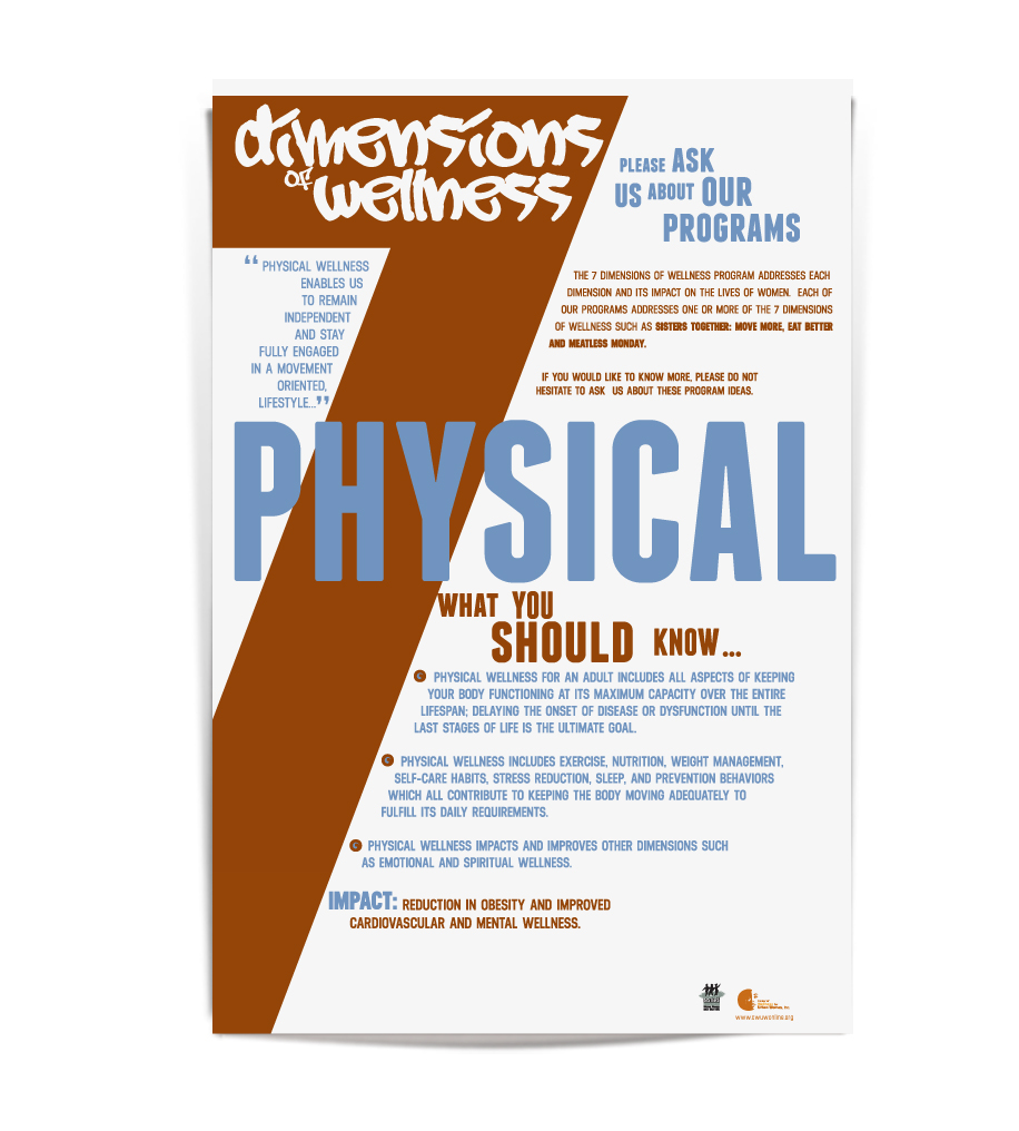 7 dimensions of wellness 7 dimensions of wellness essays and research papers  search six dimensions of wellness six dimensions of wellness description: physical wellness: spending time weekly in the pursuit of endurance, flexibility and strength it is also means that a.
